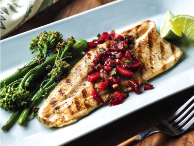 Grilled Clear Springs Rainbow Trout Fillets with Cherry Salsa